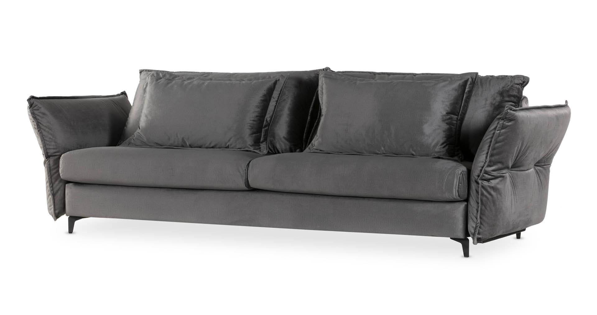 """ספה כרמן 290 ס""""מ בגוון אפור שילד"""