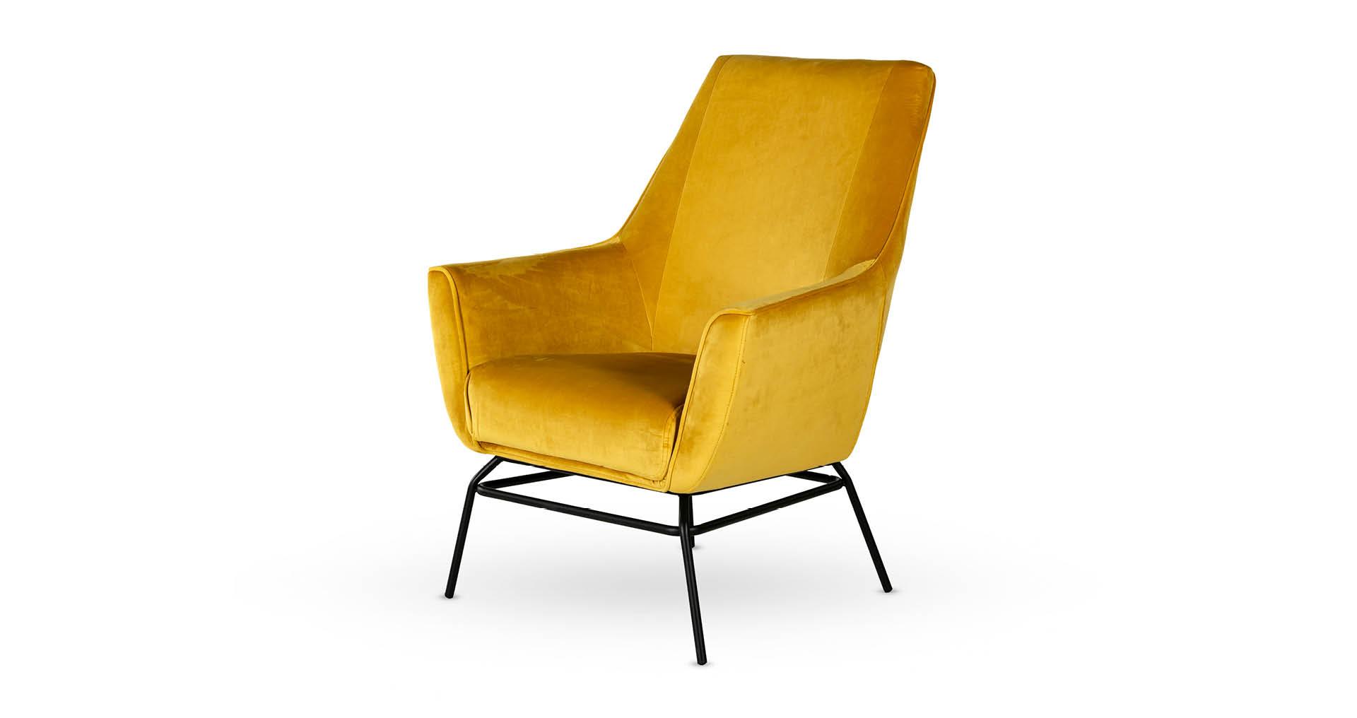 כורסא בונדברג בגוון חרדל זהוב