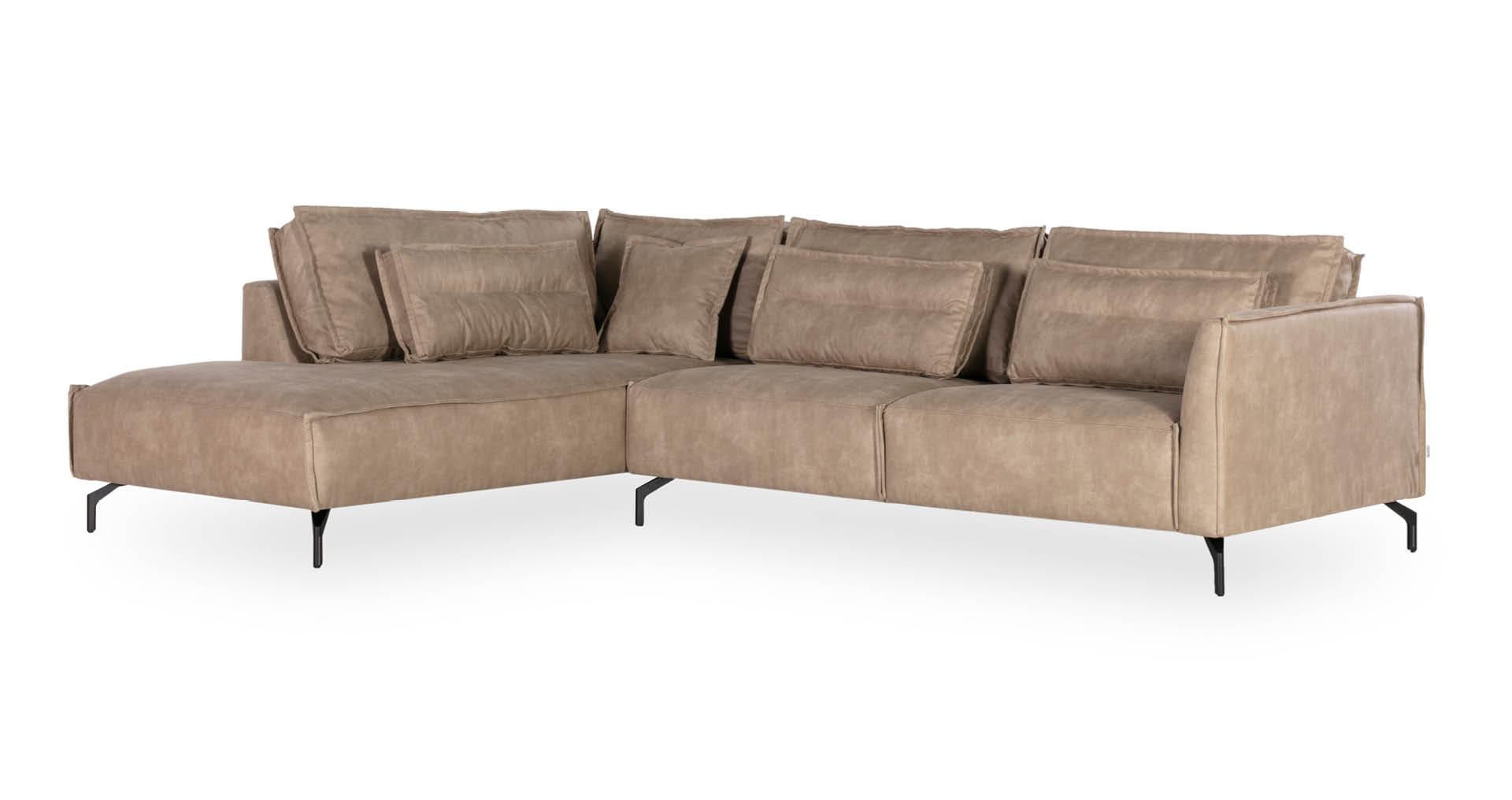"""ספה פינתית קרט צד שמאל  300 ס""""מ בגוון קפוצ'ינו"""