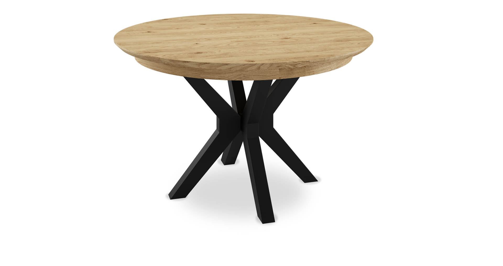 """שולחן אוכל רומא רגל שחורה  נפתח 120 ס""""מ בגוון אלון טבעי"""