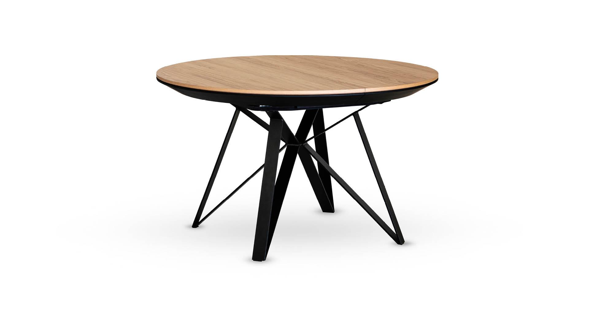 """שולחן אוכל ספיידר עגול נפתח 130 ס""""מ בגוון אלון טבעי"""