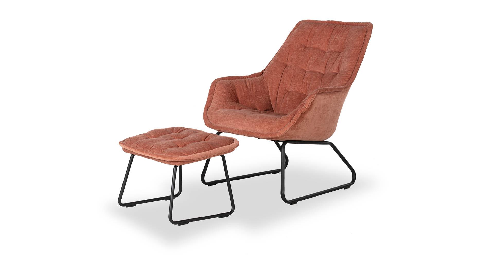 כורסא + הדום לוסי בגוון ורוד אפרסק