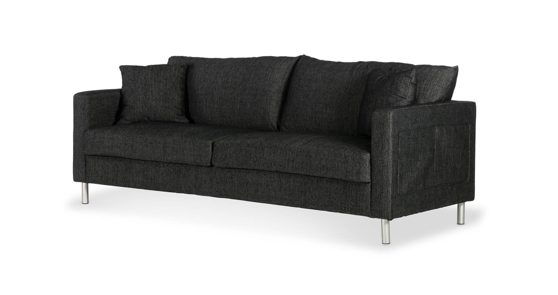 """ספה אניסטון 210 ס""""מ בגוון שחור קרבון"""