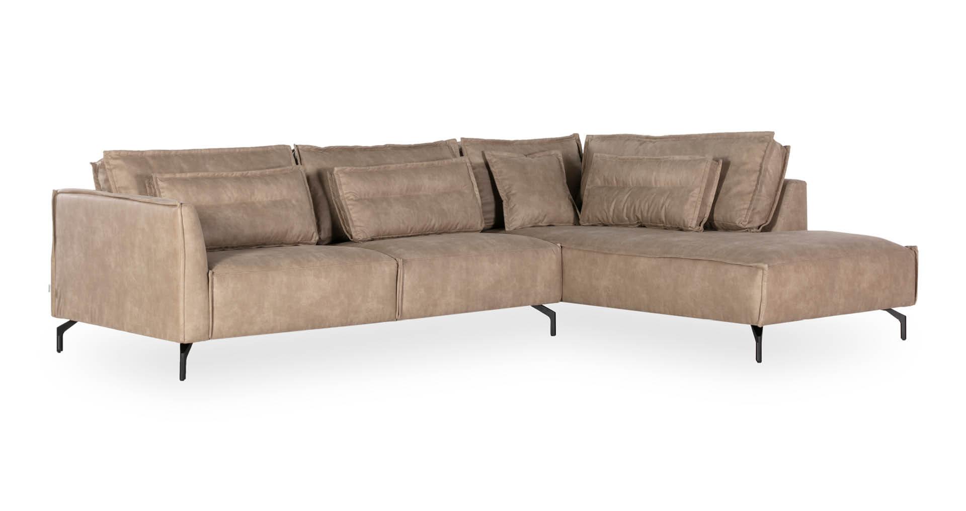 """ספה פינתית קרט צד ימין  300 ס""""מ בגוון קפוצ'ינו"""