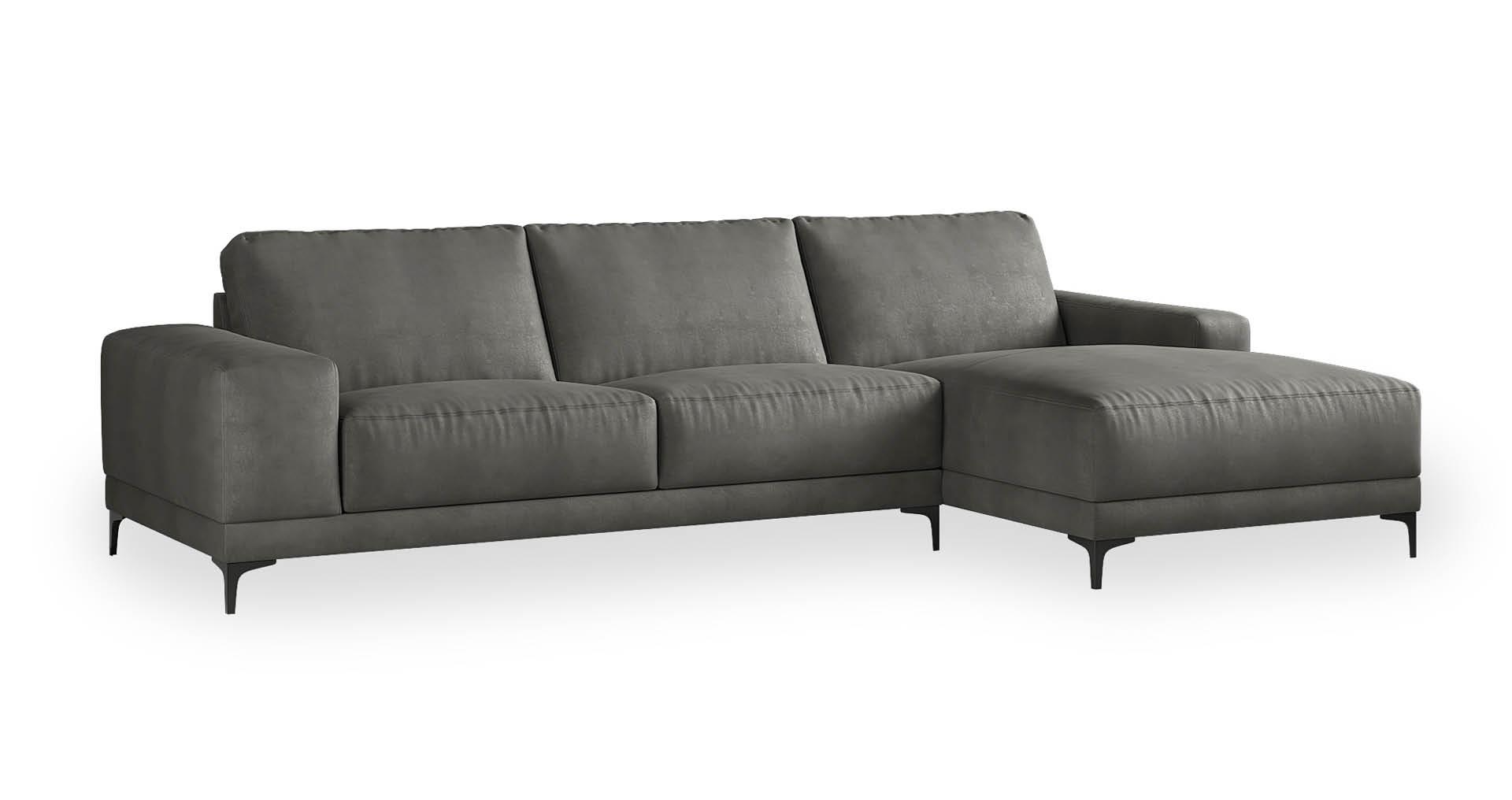 """ספה פינתית ואלרי צד ימין 310 ס""""מ בגוון אפור קונקריט"""