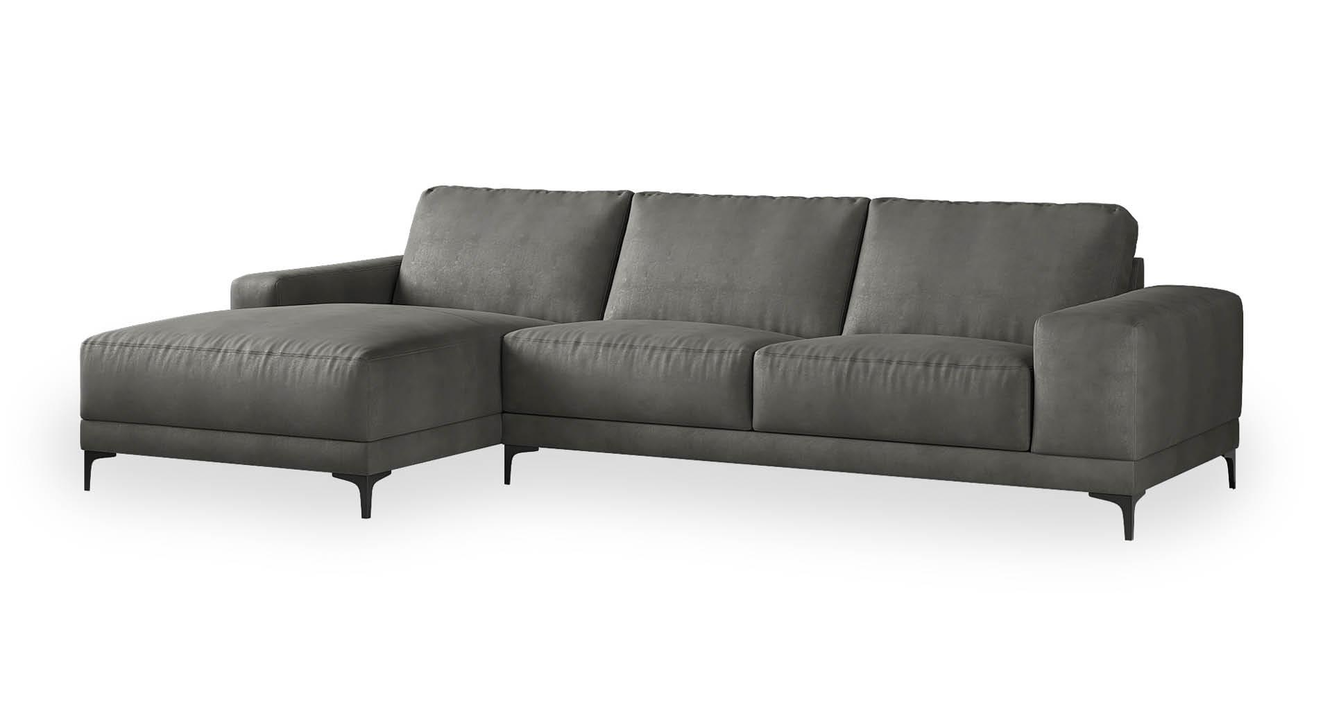 """ספה פינתית ואלרי צד שמאל 310 ס""""מ בגוון אפור קונקריט"""
