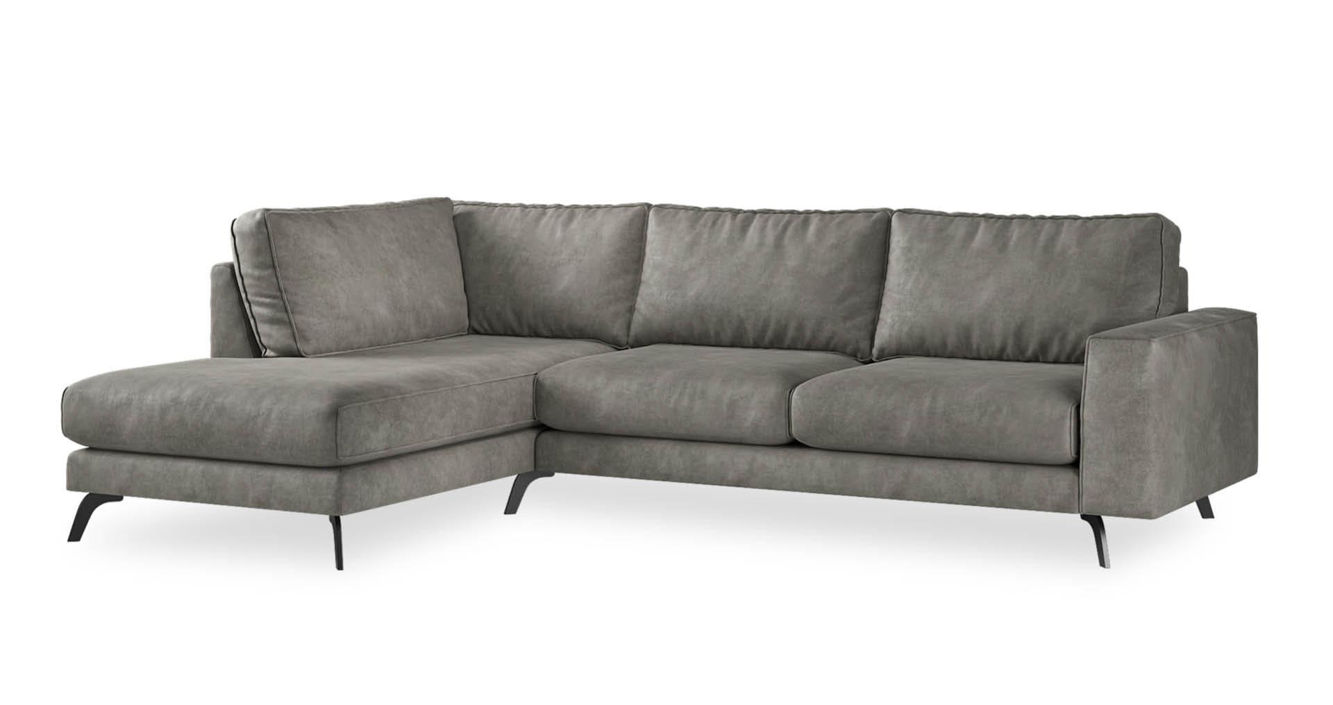 """ספה פינתית אתנה צד שמאל 300 ס""""מ בגוון אפור פלדה"""