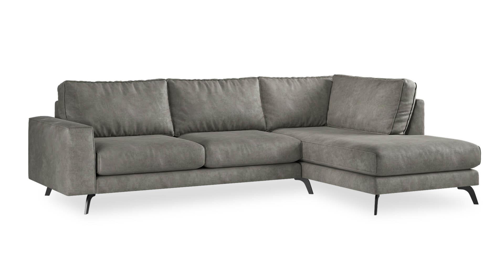 """ספה פינתית אתנה צד ימין 300 ס""""מ בגוון אפור פלדה"""