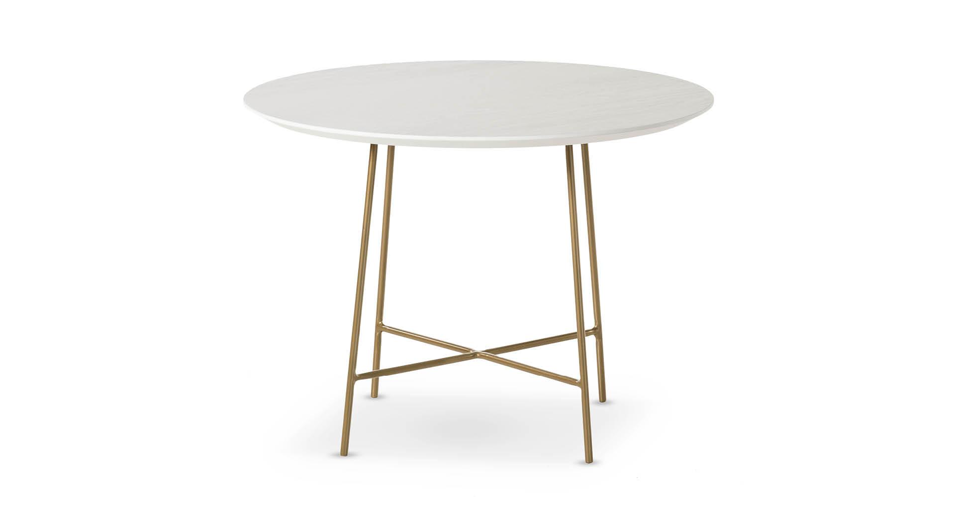 """שולחן צד ברייטון 60 ס""""מ בגוון לבן עם רגל מוזהבת"""