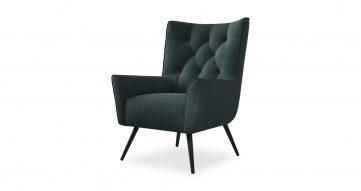 כורסא בודיבה בגוון כחול מעושן